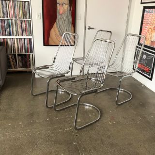 1970s Midcentury chrome high back chair
