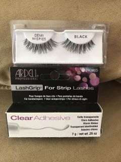 NEW!! Sally's Demi Wispies Natural Looking Fake Eyelashes & Lash Grip Clear Adhesive