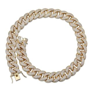 "18mm 22""long Gold Plated Cuban link chain"
