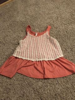 Youth tank top with crochet overlay