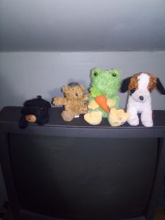 4 small stuffed animals.
