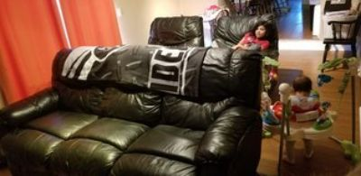 Black Leather Couch & 2 Recliners
