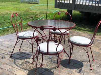 Vintage Wrought iron table with soda fountain chairs