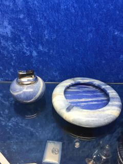Stone ashtray and lighter