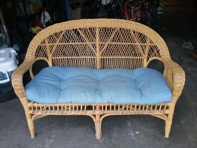 Rattan loveseat couch