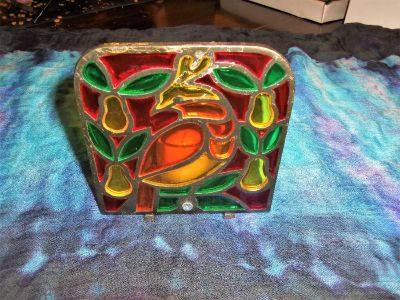 gorgeous stained glass metal candle holder