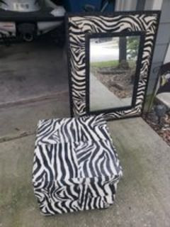 Large mirror with matching ottoman