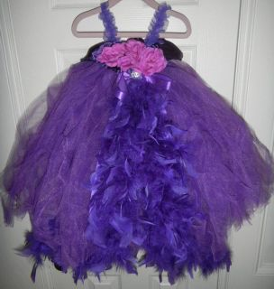GORGEOUS Purple Feather TuTu Dress Princess Toddler Girls 2T / 3T Pageant Costume