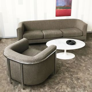 vintage modern Sofa and chair by Milo Baughman