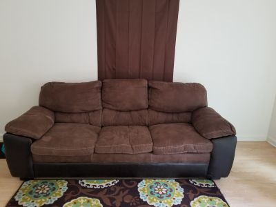 Leather and suede brown couch