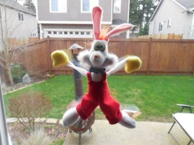 "1987 Roger Rabbit 12"" Stuffed Plush Disney Amblin Window Hanger Suction Cups Vintage"