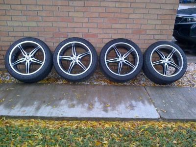 MB RIMS 22 5-Lug Black Polished Wheels And Falken Tires Like New