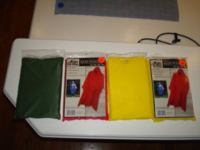 PVC Rain Ponchos - Brand NEW - Red, Yellow, Army Green - CHEAP!!