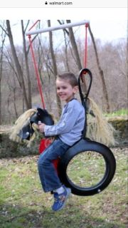 Tire swing horse with saddle cover