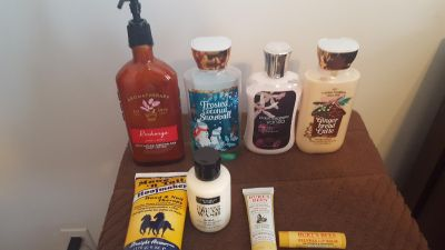 Lotion lot. New or mostly new bath and body,vicorias secret and burts bees. $7.00.