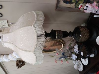 Antique lamp with fringed shade - Must see!