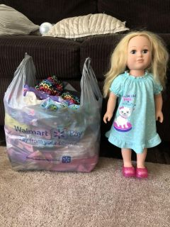 Doll and clothes lot