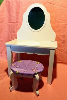 """Vanity & Stool from Kidkraft for 18"""" Dolls. This is Wood. Sells for $33.95"""