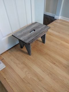 Weathered wooden plant stand