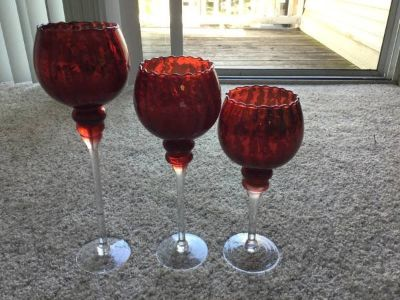 3 Red Glass Candle holders with candles Decorative centerpiece