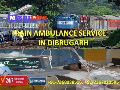 Get Specially ICU Equipped Train Ambulance Service in Dibrugarh by Medilift