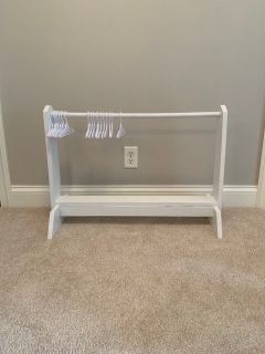 Handmade Wood Doll Clothes Rack with hangers