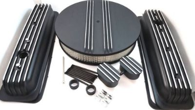 Purchase SB Chevy SBC Black Finned Center Bolt Aluminum Valve Cover Kit 305 350 1987-1995 motorcycle in Chatsworth, California, United States, for US $169.99