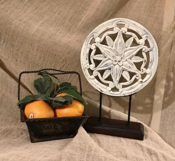 CHOICE. Metal Basket of Oranges or Antiqued Decorative Piece. $15 EACH or both for $25
