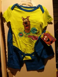 3 piece Scooby Doo onesie, pant and cap set- new size 3-6 mths