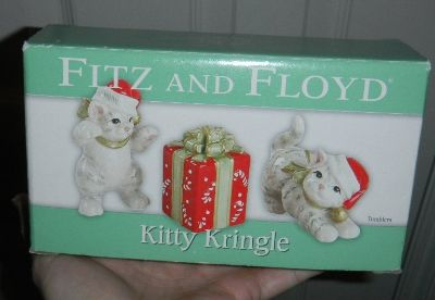 Fitz & Floyd Kitty Kringle Tumblers Christmas Decor