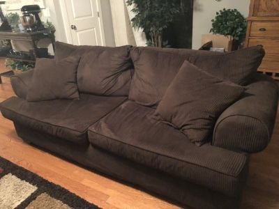 Chocolate Brown Corduroy Couch, Chair & Ottomon