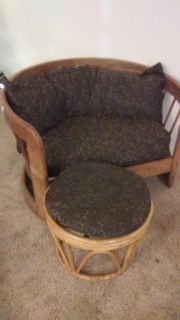Round Bamboo sofa with a foot rest