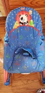 Infant to toddler rocker chair. Vibrates (has good batteries) rocks and can be stationary. Smoke free home. Pick up Mechanicville.
