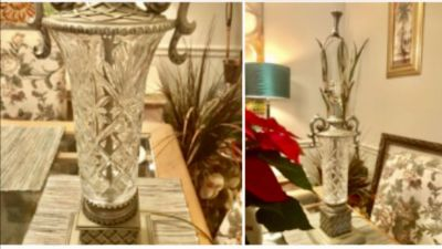 Heavy bevel glass lamps 31 inches tall