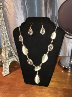 Brand new Silver tone costume necklace/earring set