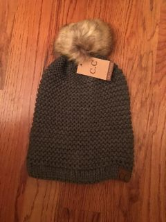 C.C ADJUSTABLE BEANIE FAUX FUR - DARK MELANGE GREY - ONLY ONE THIS COLOR THIS PRICE - THEY ARE NO LONGER ON SALE FOR THIS PRICE