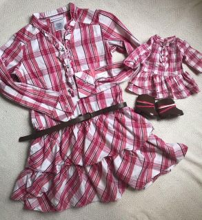 American girl doll brand size 10 dress and matching doll dress with boots