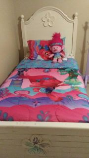 Trolls bed set plus twin xl mattress and boxspring and wooden bed frame and footboard.