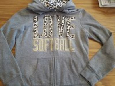 Justice Love Softball zip-up jacket size 12