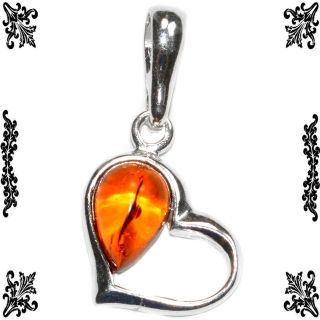 New - Dainty Heart Authentic Baltic Amber 925 Sterling Silver Pendant (Includes a chain)