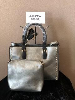BRAND NEW!Pewter(Silver toned) classic tote with studded side, extra strap include, COMBO!! incl...