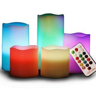 Set of 5 Real Wax MultiColor Flickering Flame Candles with Remote Control