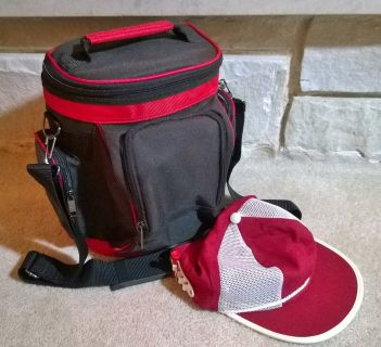 Golf bag cooler with vintage golf hat