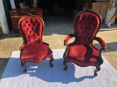 Two Red Velvet Antique Chairs