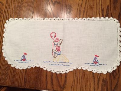 19.5 x 9.5 Vintage Embroidered and Crocheted Dresser Scarf