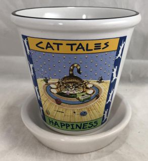 """Planter Vase Cat Tales Happiness of Smiles 1998 Gary Patterson by Westwood 4.5"""""""