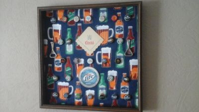 Man Cave Bar-Beer Bottle Caps-Beer Coasters-Beer Bottle Openers Framed Picture
