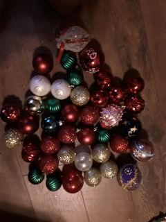 40 assorted color Christmas ornaments