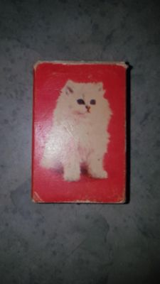 Tiny little vintage miniature playing cards with Cat