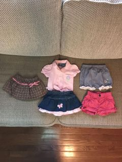 Super cute outfit plus 2 shirts and 1 skirt with built in pants. EUC. Sfh